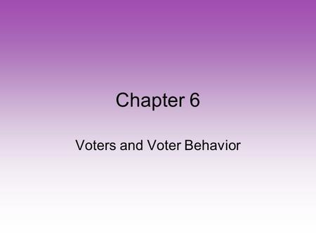 Chapter 6 Voters and Voter Behavior. Because the Framers of the Constitution disagreed on specific requirements, they left the power to set voting requirements.