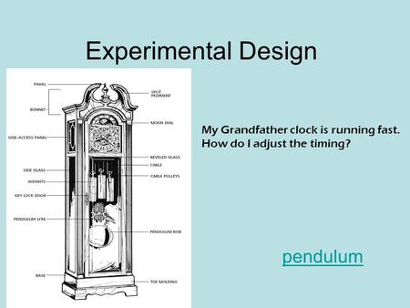Experimental Design pendulum My Grandfather clock is running fast.