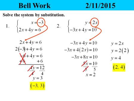 Bell Work 2/11/2015 Solve the system by substitution.