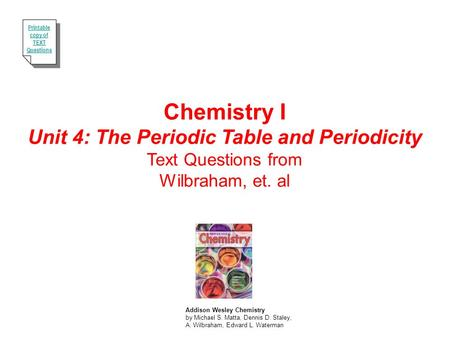Unit 4: The Periodic Table and Periodicity
