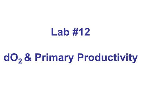Lab #12 dO 2 & Primary Productivity Aquatic Primary Producers.