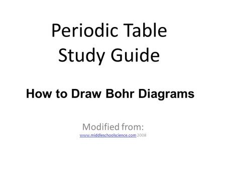 Periodic Table Study Guide Modified from: www.middleschoolscience.comwww.middleschoolscience.com 2008 How to Draw Bohr Diagrams.