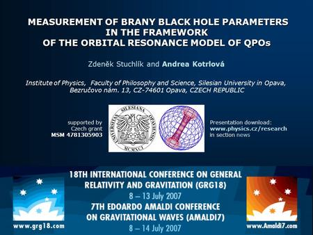 MEASUREMENT OF BRANY BLACK HOLE PARAMETERS IN THE FRAMEWORK OF THE ORBITAL RESONANCE MODEL OF QPOs MEASUREMENT OF BRANY BLACK HOLE PARAMETERS IN THE FRAMEWORK.