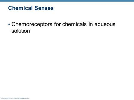 Copyright © 2010 Pearson Education, Inc. Chemical Senses Chemoreceptors for chemicals in aqueous solution.