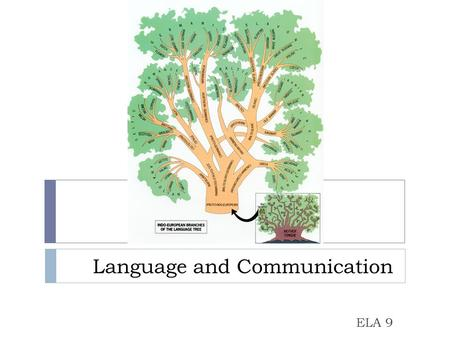 Language and Communication ELA 9. How do we communicate?