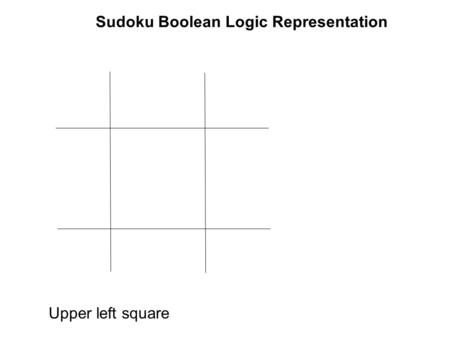 Sudoku Boolean Logic Representation Upper left square.