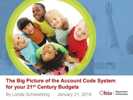 The Big Picture of the Account Code System for your 21 st Century Budgets By Londa Schwierking January 21, 2014.