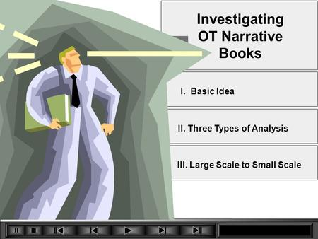 7 Investigating OT Narrative Books II. Three Types of Analysis III. Large Scale to Small Scale I. Basic Idea.
