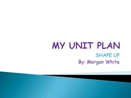SHAPE UP By: Morgan White.  The purpose of this unit plan is for the children to learn how to manipulate and create different polygons (triangles, quadrilaterals,