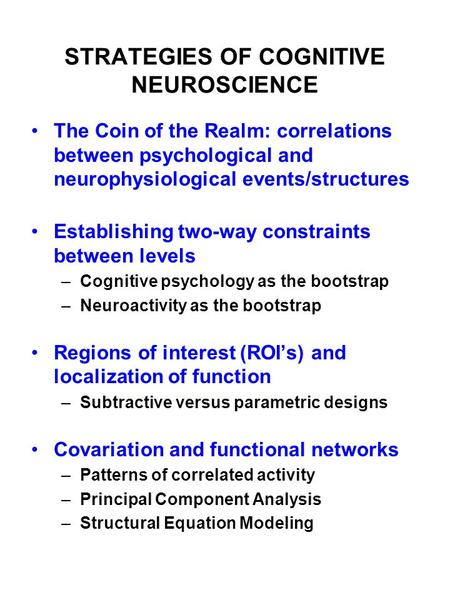 STRATEGIES OF COGNITIVE NEUROSCIENCE The Coin of the Realm: correlations between psychological and neurophysiological events/structures Establishing two-way.