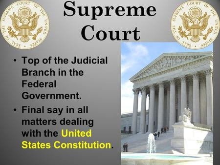 Supreme Court Top of the Judicial Branch in the Federal Government. Final say in all matters dealing with the United States Constitution.