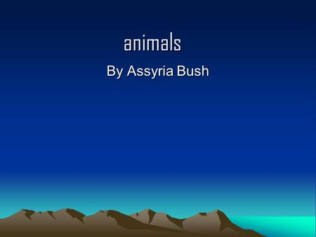 Animals By Assyria Bush. animals HIPPOPOTAMUS A mother hippopotamus gives birth to a single calf, usually in shallow water but sometimes on land. The.