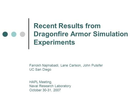 Recent Results from Dragonfire Armor Simulation Experiments Farrokh Najmabadi, Lane Carlson, John Pulsifer UC San Diego HAPL Meeting, Naval Research Laboratory.
