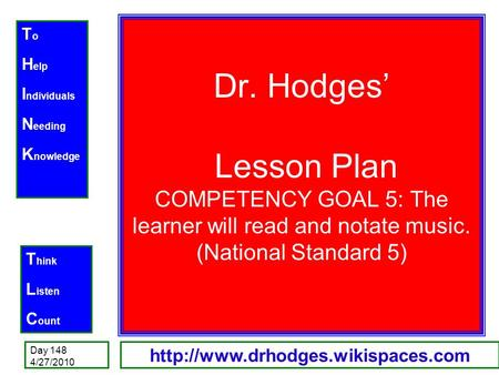 T o H elp I ndividuals N eeding K nowledge T hink L isten C ount Day 148 4/27/2010  Dr. Hodges' Lesson Plan COMPETENCY.