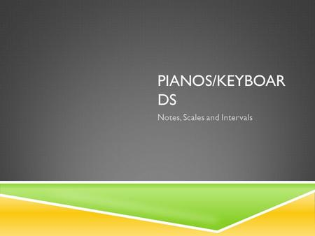 PIANOS/KEYBOAR DS Notes, Scales and Intervals. NOTES/PITCH  A-B-C-D-E-F-G.