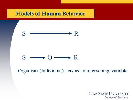 Models of Human Behavior S R S O R Organism (Individual) acts as an intervening variable.