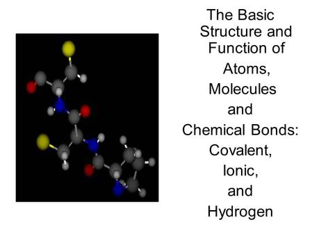 The Basic Structure and Function of Atoms, Molecules and Chemical Bonds: Covalent, Ionic, and Hydrogen.
