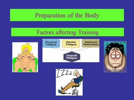Preparation of the Body Factors affecting Training.