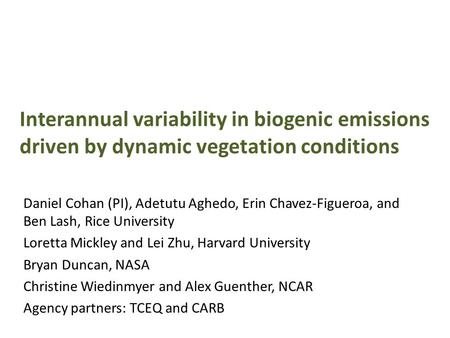 Interannual variability in biogenic emissions driven by dynamic vegetation conditions Daniel Cohan (PI), Adetutu Aghedo, Erin Chavez-Figueroa, and Ben.