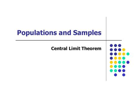 Populations and Samples Central Limit Theorem. Lecture Objectives You should be able to: 1.Define the Central Limit Theorem 2.Explain in your own words.