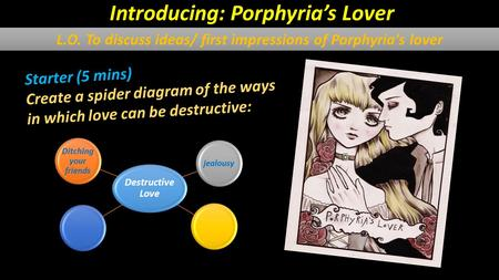 Starter (5 mins) Create a spider diagram of the ways in which love can be destructive: Destructive Love Ditching your friends jealousy Introducing: Porphyria's.