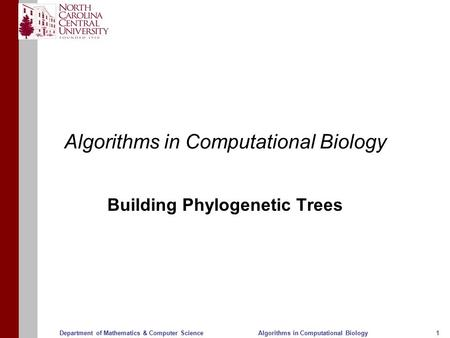 Algorithms in Computational Biology11Department of Mathematics & Computer Science Algorithms in Computational Biology Building Phylogenetic Trees.
