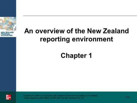 PowerPoint slides to accompany New Zealand Financial Accounting 5e by Samkin Slides adapted by Bob Miller,  2011 McGraw-Hill Australia Pty Ltd An overview.