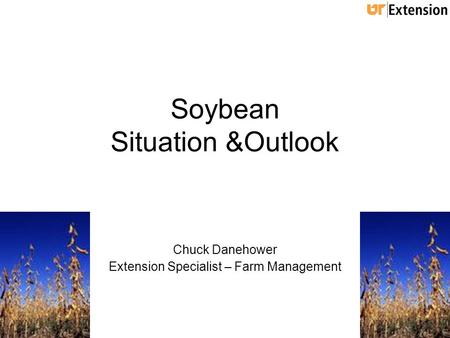 Soybean Situation &Outlook Chuck Danehower Extension Specialist – Farm Management.