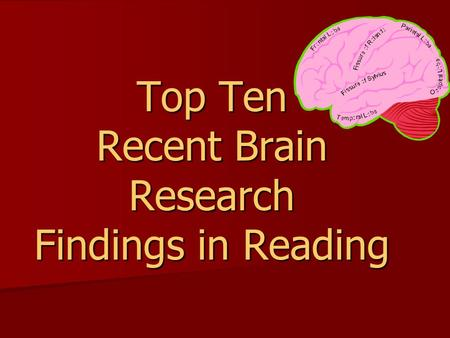 Top Ten Recent Brain Research Findings in Reading.