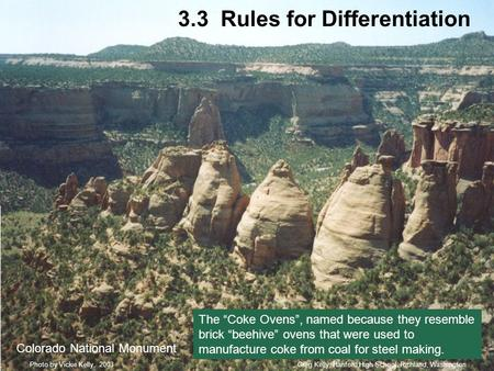 "3.3 Rules for Differentiation Colorado National Monument Greg Kelly, Hanford High School, Richland, WashingtonPhoto by Vickie Kelly, 2003 The ""Coke Ovens"","