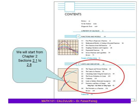 We will start from Chapter 2 Sections 2.1 to 2.8 MATH 101 : CALCULUS I – Dr. Faisal Fairag.