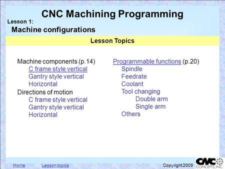 HomeLesson topics Click to edit Master text styles –Second level Third level –Fourth level Fifth level 1 CNC Machining Programming Lesson 1: Machine configurations.