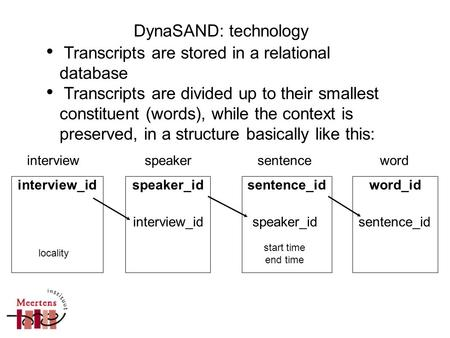 Transcripts are stored in a relational database Transcripts are divided up to their smallest constituent (words), while the context is preserved, in a.