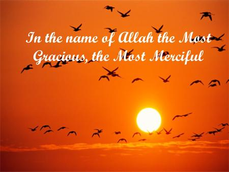 In the name of Allah the Most Gracious, the Most Merciful.