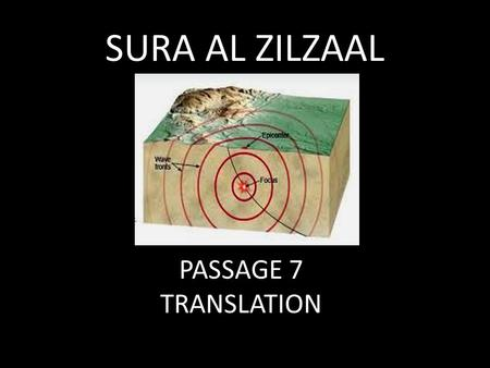 PASSAGE 7 TRANSLATION SURA AL ZILZAAL IN THE NAME OF ALLAH, MOST GRACIOUS, MOST MERCIFUL.