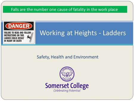 Safety, Health and Environment Working at Heights - Ladders Falls are the number one cause of fatality in the work place.