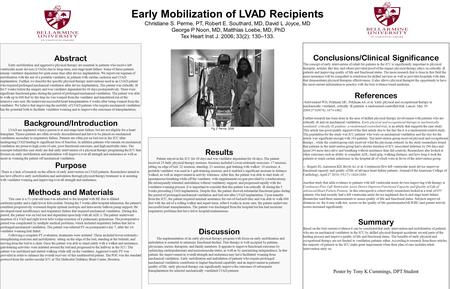 Early Mobilization of LVAD Recipients Christiane S. Perme, PT, Robert E. Southard, MD, David L Joyce, MD George P Noon, MD, Matthias Loebe, MD, PhD Tex.