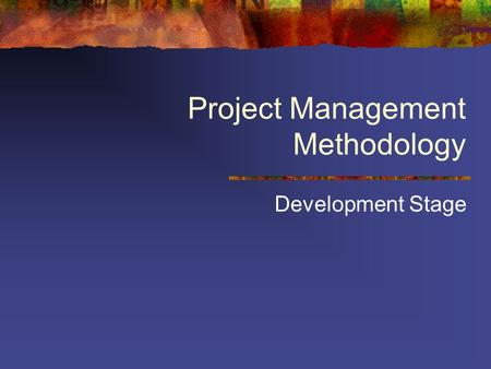 Project Management Methodology Development Stage.