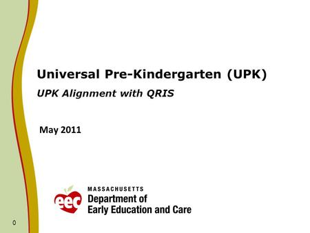 0 Universal Pre-Kindergarten (UPK) UPK Alignment with QRIS May 2011.