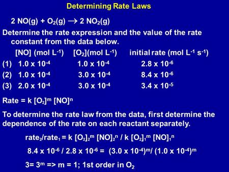 2 NO(g) + O 2 (g)  2 NO 2 (g) Determine the rate expression and the value of the rate constant from the data below. [NO] (mol L -1 ) [O 2 ](mol L -1 )