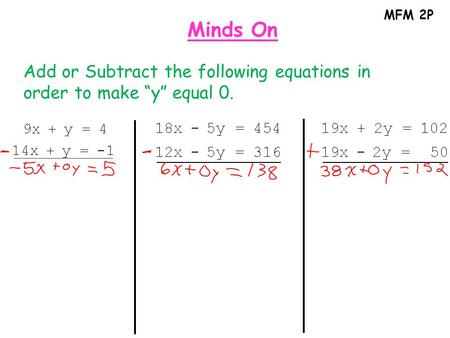 "MFM 2P Minds On Add or Subtract the following equations in order to make ""y"" equal 0."