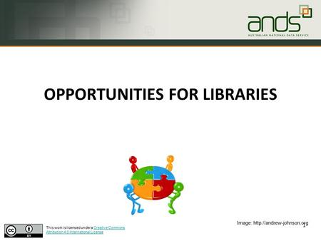 OPPORTUNITIES FOR LIBRARIES 1 Image:  This work is licensed under a Creative Commons Attribution 4.0 International LicenseCreative.
