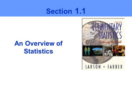 An Overview of Statistics Section 1.1. Ch1 Larson/Farber 2 Statistics is the science of collecting, organizing, analyzing, and interpreting data in order.