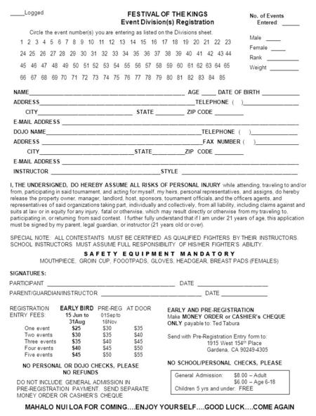 FESTIVAL OF THE KINGS Event Division(s) Registration _____Logged Circle the event number(s) you are entering as listed on the Divisions sheet. No. of Events.