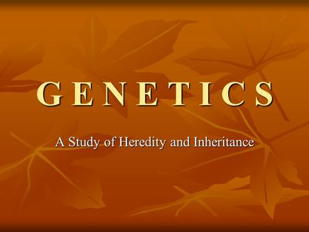 G E N E T I C S A Study of Heredity and Inheritance.