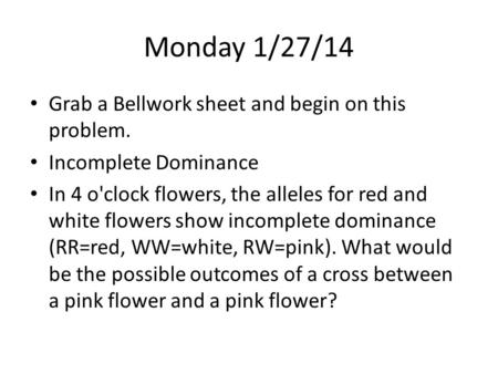 Monday 1/27/14 Grab a Bellwork sheet and begin on this problem. Incomplete Dominance In 4 o'clock flowers, the alleles for red and white flowers show incomplete.
