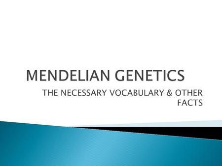 THE NECESSARY VOCABULARY & OTHER FACTS.  GREGOR MENDEL – THE FATHER OF GENETICS  AUSTRIAN MONK  RESEARCHED HOW TRAITS ARE PASSED FROM GENERATION TO.