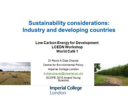 Sustainability considerations: Industry and developing countries Dr Rocio A Diaz Chavez Centre for Environmental Policy Imperial College London