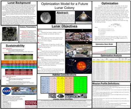 Optimization Basic Model Optimization Model for a Future Lunar Colony The objective of this project is to develop an optimization model for lunar colonization.