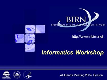 All Hands Meeting 2004, Boston  Informatics Workshop.